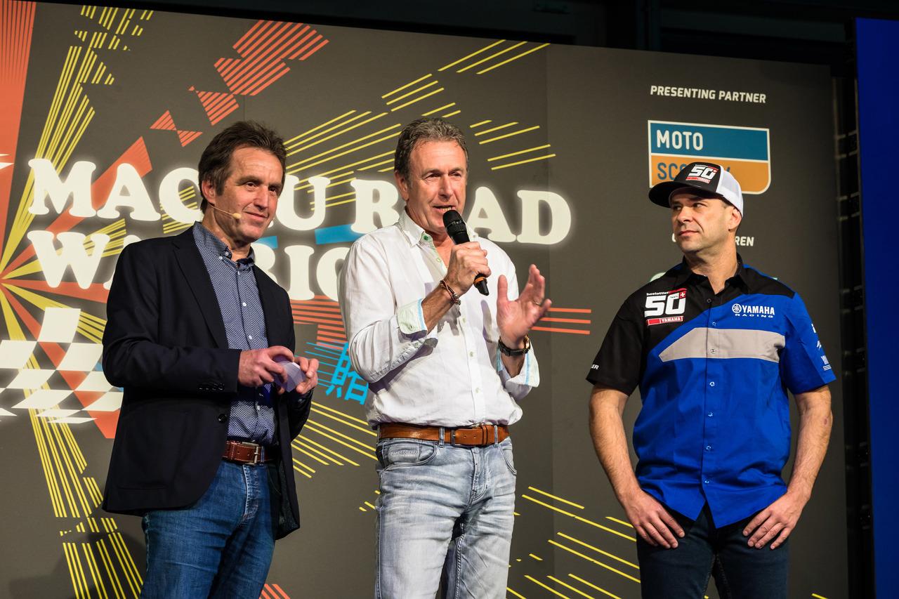 SWISS-MOTO 2018 | Medienkonferenz | v.l.n.r. Markus Lehner, Moderator, Andi Hofmann, Road Racer, Horst Saiger, Road Racer